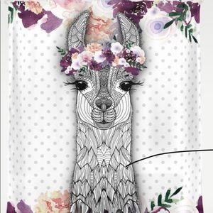 Flower girl alpaca shower curtain